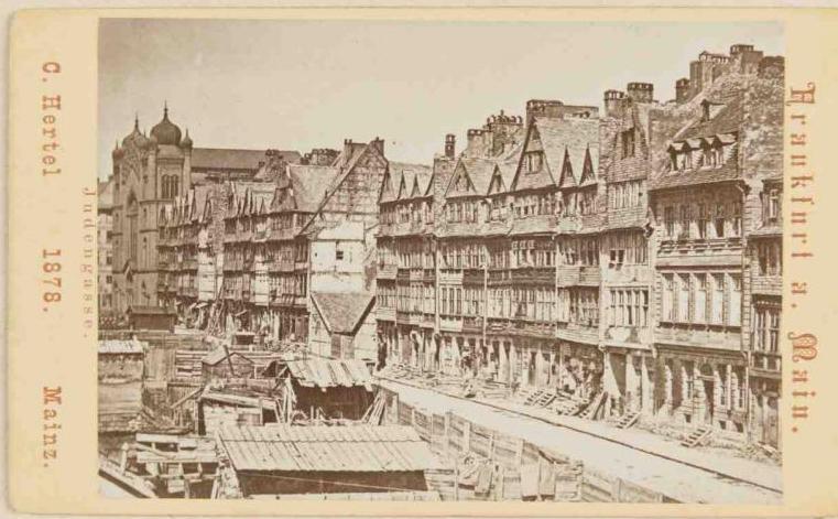 Postkarte mit Abbildung der Judengasse aus dem Jahr 1878