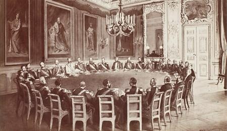 Das Gemälde zeigt eine Sitzung des deutschen Fürstentages.